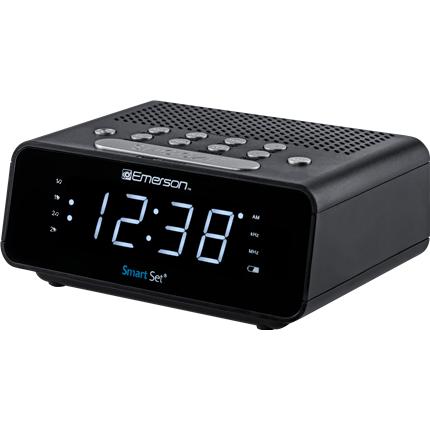 smartset alarm clock radio with am fm radio and white led display emerson radio. Black Bedroom Furniture Sets. Home Design Ideas