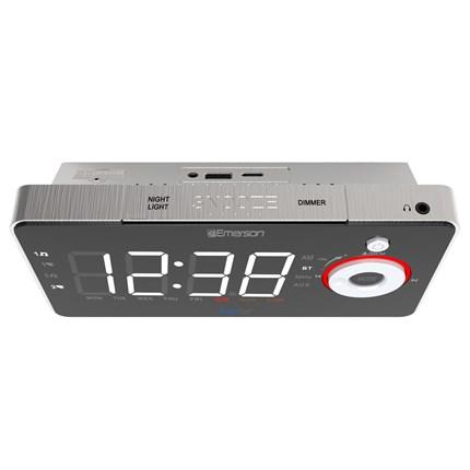 SmartSet Alarm Clock Radio with Bluetooth Speaker, USB Charger, Nightlight  and White LED Display